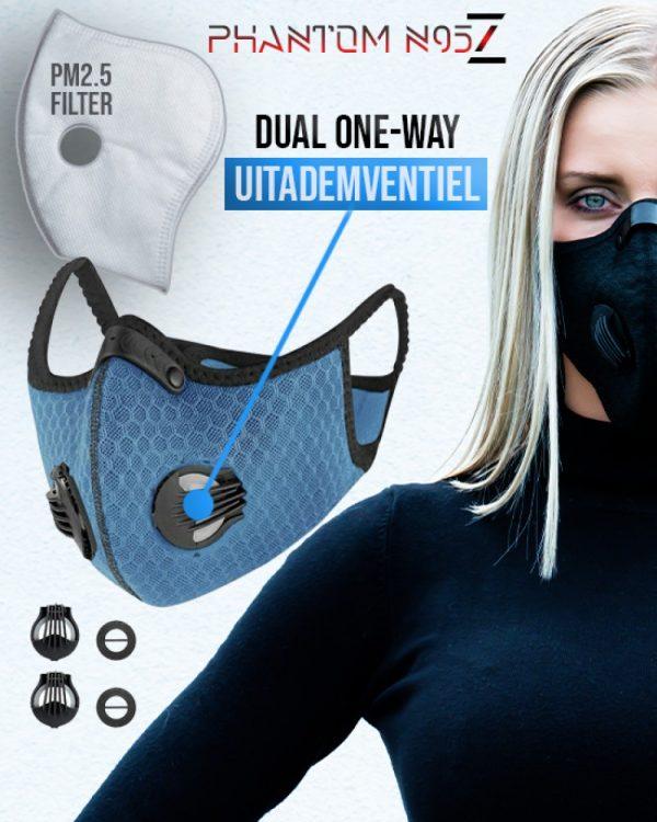Phantom n95 Z mondkapje mondmasker blauw